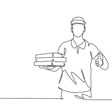 One line drawing of young pizza delivery man gives thumbs up gesture while deliver the package to customer. Food delivery service business concept. Continuous line draw design vector graphic
