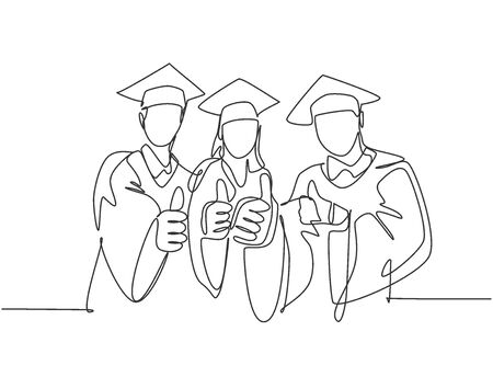 One line drawing of young happy graduate college students wearing graduation dress and giving thumbs gesture. Education graduating concept. Continuous line draw design graphic vector illustration