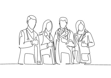 One line drawing of groups of young happy male and female doctors giving thumbs up gesture as service excellence symbol. Medical team work concept. Continuous line draw design vector illustration Illustration