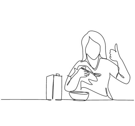 One line drawing of young happy woman eating breakfast with cereal and milk and giving thumbs up. Healthy nutrition food concept. Continuous line draw design vector graphic illustration