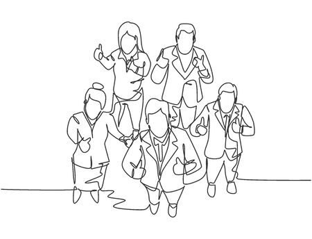 One line drawing of group of businessmen and businesswoman giving thumbs up gesture from top view. Business meeting and teamwork concept. Continuous line draw design vector illustration
