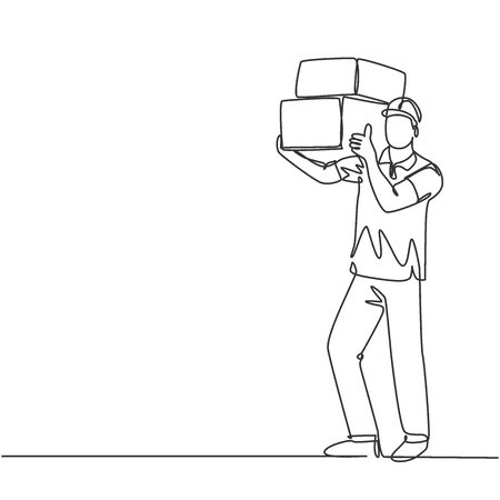 One line drawing of young happy delivery courier man gives thumbs up gesture while lift up carton box packages. Delivery service business concept. Continuous line draw design vector illustration Illustration