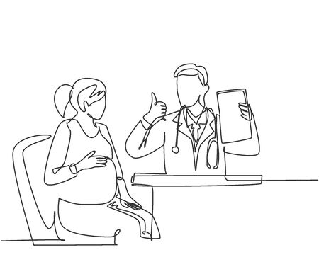 One line drawing of young happy obstetrician doctor checking up pregnancy mom and tell good result on hospital. Medical healthcare service concept. Continuous line draw design vector illustration 免版税图像 - 150289950