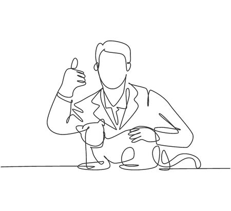 One line drawing of young happy veterinarian doctor pose thumbs up gesture after treating sick cat at clinic. Pet health care concept. Continuous line draw design vector illustration