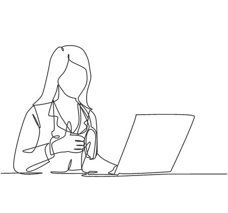 One line drawing of young happy doctor woman open a laptop to write medical record and gives thumbs up gesture. Healthcare service concept. Continuous line draw design vector illustration 免版税图像 - 150289198