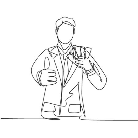 One line drawing of young happy business man holding money paper stack and gives thumbs up gesture. Business success concept. Continuous line draw design vector illustration Illustration