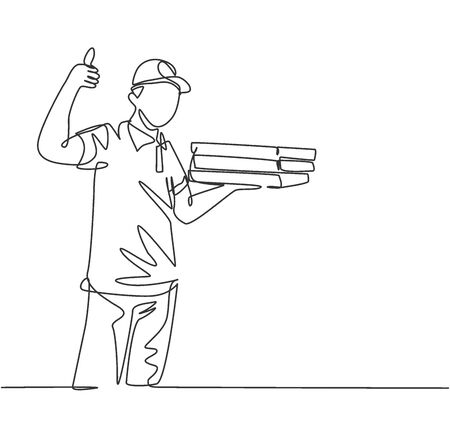 One line drawing of young happy pizza delivery man gives thumbs up gesture before deliver package to customer. Food delivery service business concept. Continuous line draw design vector illustration