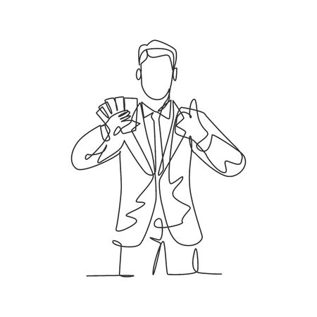 One line drawing of young happy successful businessman show money paper stack and gives thumbs up gesture. Business success concept. Continuous line draw design vector illustration Ilustração