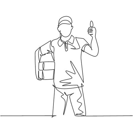 One line drawing of young happy delivery man gives thumbs up gesture while lift up and deliver carton box package to costumer. Delivery service concept. Continuous line draw design vector illustration