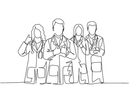 One line drawing of groups of young male and female doctors giving thumbs up gesture as service excellence symbol. Medical team work concept. Continuous line draw design vector illustration