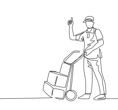 One line drawing of young delivery man gives thumbs up gesture while carrying carton box package with trolley to customer. Delivery service concept. Continuous line draw design vector illustration