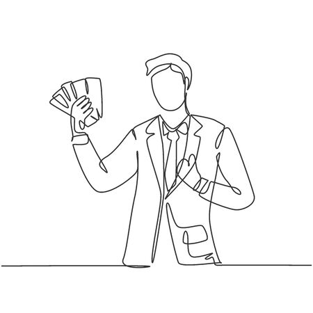 One line drawing of young happy successful businessman show money paper stack and gives thumbs up gesture. Business success concept. Continuous line draw design vector graphic illustration Illustration