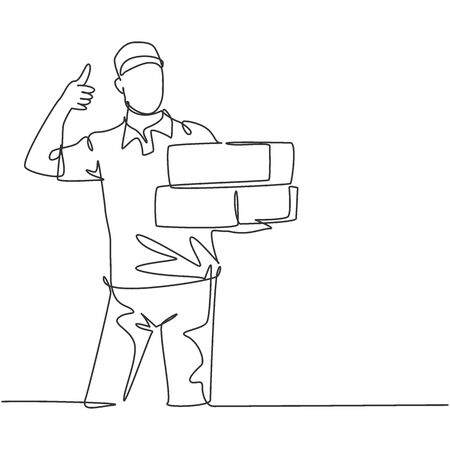One line drawing of young happy delivery man gives thumbs up gesture while lift up carton box packages to customer. Delivery service business concept. Continuous line draw design vector illustration