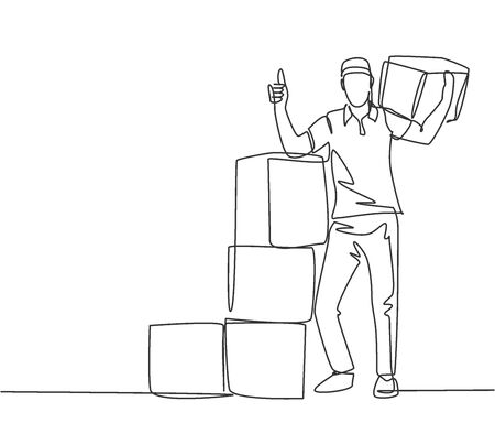 One line drawing of young delivery man gives thumbs up gesture while lift up and deliver carton box packages to customer. Delivery service concept. Continuous line draw design vector illustration