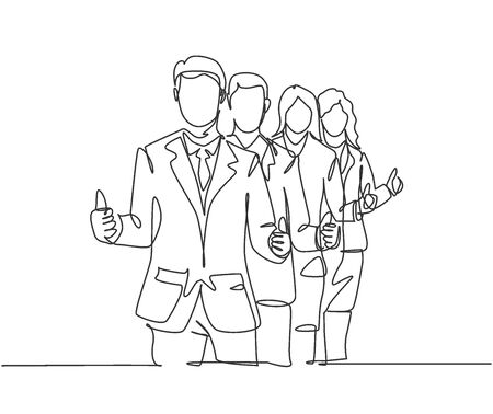 Single line drawing group of line up young happy businessmen standing up together and giving thumbs up gesture. Business teamwork concept. Continuous line draw design vector illustration