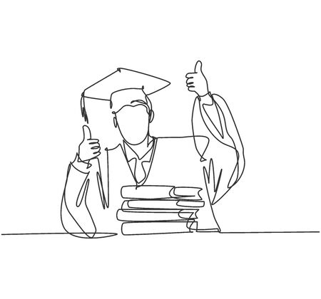 One line drawing of young happy graduate male college student wearing graduation uniform and giving thumbs up gesture in front of books stack. Education concept continuous line draw design vector