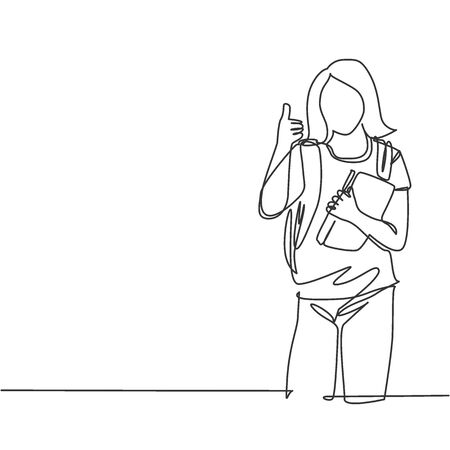 One line drawing of young beauty elementary school girl student holding book and school bag while gives thumb up gesture. Education concept continuous line draw design vector graphic illustration Vectores