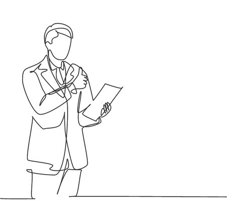 Single line drawing of business man standing up while holding a paper and giving thumbs up gesture. Business presentation concept. Continuous line draw design vector illustration