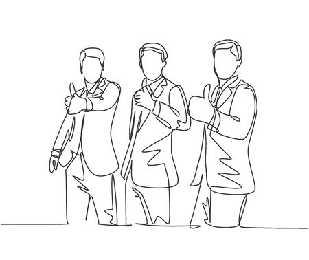 Single line drawing of young happy businessmen wearing suit giving thumbs up gesture. Business owner dealing a teamwork concept. Trendy continuous line draw design graphic vector illustration