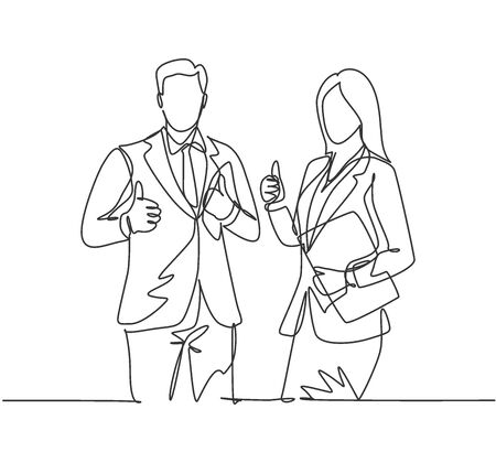 Single line drawing group of young happy couple businessman and businesswoman standing up together giving thumbs up gesture. Business teamwork concept. Continuous line draw design vector illustration