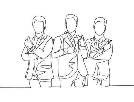 Single line drawing group of young happy businessmen standing together and giving thumbs up gesture. Business owner teamwork concept. Continuous line draw design vector illustration