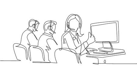 Single line drawing group of young male and female call center workers sitting in front of computer and giving thumbs up gesture. Customer service business concept. Continuous line draw design vector