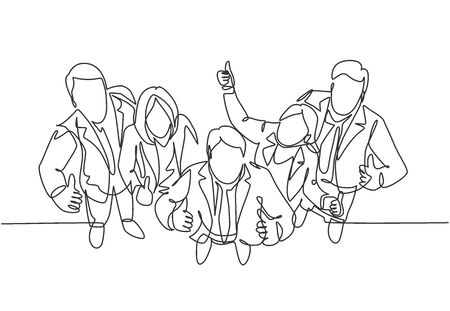 Single line drawing group of line up young businessmen and businesswoman standing up together giving thumbs up gesture from top view. Business concept. Continuous line draw design vector illustration