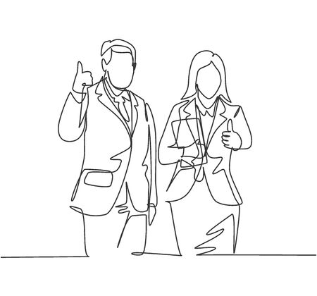 Single line drawing of young happy couple businessman and businesswoman giving thumbs up gesture. Business teamwork concept. Continuous line draw design vector illustration Illustration