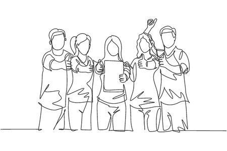 Single line drawing group of young happy entrepreneur show the award certificate and giving thumbs up gesture together. Business achievement concept. Continuous line draw design vector illustration