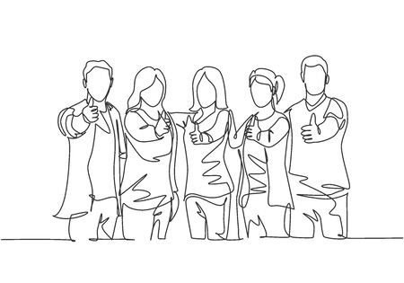 Single line drawing group of young happy businessmen and businesswomen standing up and giving thumbs up gesture together. Business meeting concept. Continuous line draw design vector illustration