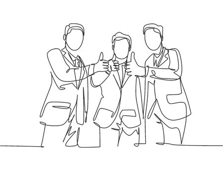 Single line drawing of young businessmen wearing suit standing up together after meeting and giving thumbs up gesture. Business owner teamwork concept. Continuous line draw design vector illustration