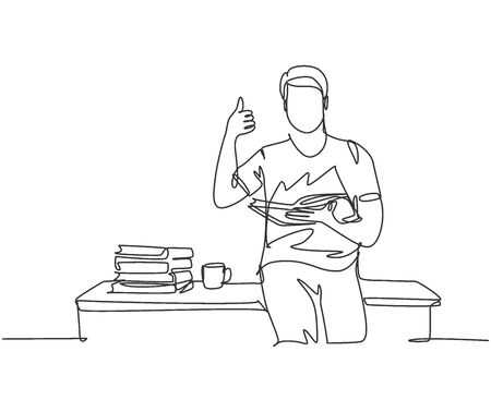 Single line drawing of young happy male college student sitting on the desk beside stack of books on library university. Education concept. Continuous line draw design vector illustration Illustration