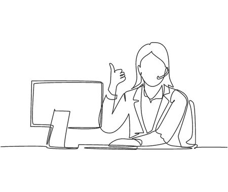 Single line drawing of young female call center worker sitting in front of computer and answering phone from customer. Customer service business concept continuous line draw design vector illustration