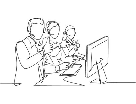 Single line drawing group of young male and female call center workers sitting in front of computer and giving thumbs up gesture. Customer service business concept continuous line draw design
