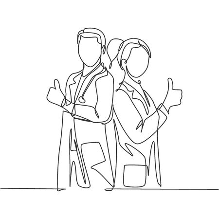 Single line drawing of young happy couple male and female doctor standing together and giving thumbs up gesture. Medical healthcare teamwork concept. Continuous line draw design vector illustration