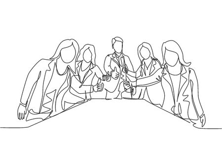 Single line drawing group of young happy businessmen and businesswoman standing up together and giving thumbs up gesture. Business meeting concept. Continuous line draw design vector illustration