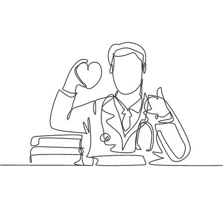 One line drawing of young happy male doctor holding heart replica on his hand and giving thumb up gesture. Healthy lifestyle healthcare concept. Medical continuous line draw design vector illustration Illustration