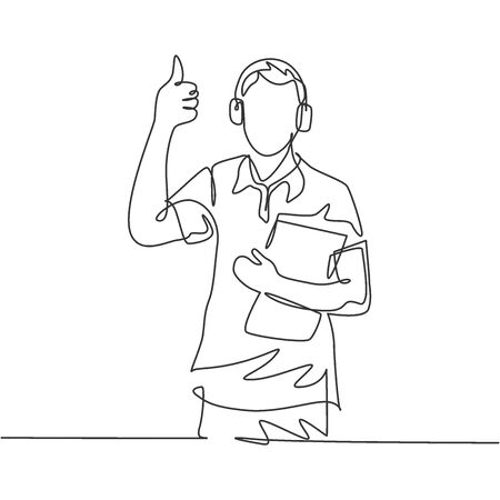 Single line drawing of young happy field project manager wearing headset and carrying clipboard while working. Field manager work life concept. Continuous line draw design vector illustration Ilustração