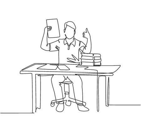 Single line drawing of young happy businessman shows a clipboard containing business contract and giving thumbs up gesture. Business deal concept. Continuous line draw design vector illustration Illustration