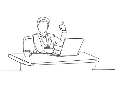 Single line drawing of young businessman sitting on chair in front of laptop and giving thumbs up gesture. Success business manager concept. Continuous line draw design vector graphic illustration Illustration