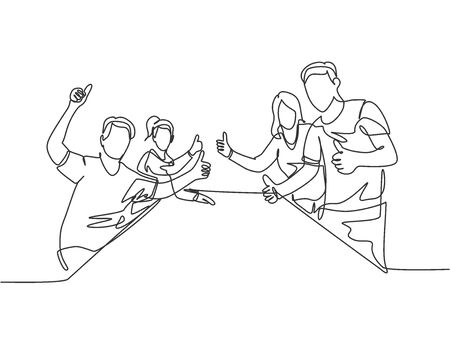 Single line drawing group of young happy businessmen and businesswomen giving thumbs up gesture together. Business meeting concept. Continuous line graphic draw design vector illustration