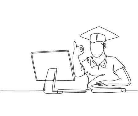 One line drawing of young happy male college student studying in front of computer and gives thumbs up gesture. Graduate student concept. Education continuous line draw design vector illustration