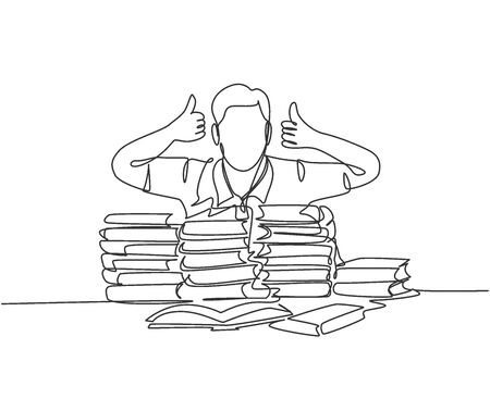 One line drawing of young happy male student giving thumbs up gesture on a pile of books and give thumbs up gesture. Education concept continuous line draw graphic design vector illustration
