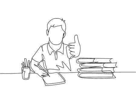 One line drawing of young happy boy student study diligently beside the stack of books and giving thumbs up gesture. Education concept continuous line graphic draw design vector illustration