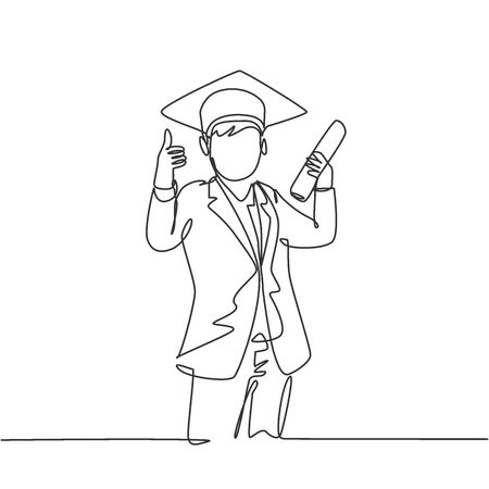 One line drawing of young happy boy student wearing graduation hat and giving thumbs up gesture while holding graduation paper roll. Education concept continuous line draw design vector illustration