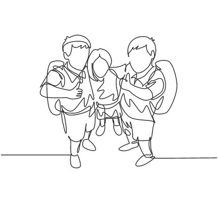 One line drawing group of happy male and female elementary school student carrying school bag and giving thumb up gesture. Education concept continuous line draw design vector illustration graphic