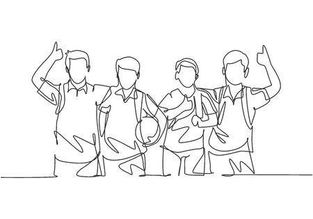 One line drawing group of young happy boys and girls from elementary school student carrying bags and give thumbs up gesture. Education concept continuous line draw design graphic vector illustration