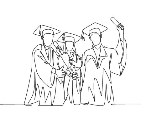 One line drawing group of young happy graduate male and female college student wearing gown and giving thumbs up gesture. Education concept continuous line draw design vector illustration