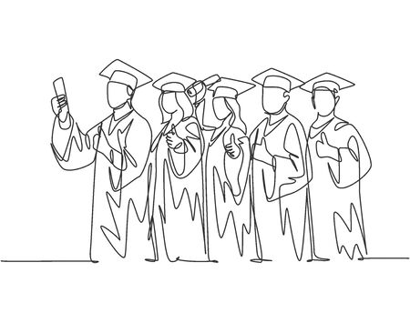 One line drawing group of young happy graduate male and female college student wearing gown and holding diploma certificate paper. Education concept continuous line draw design vector illustration Illustration