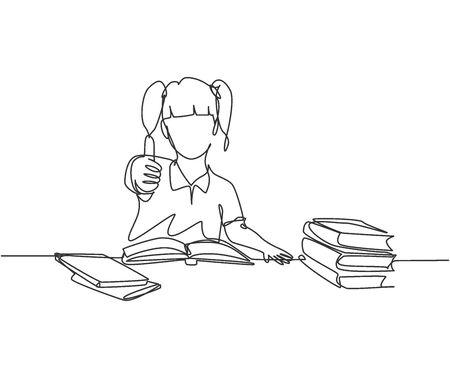 One line drawing of young happy elementary school girl student studying in the library and reading stack of book while gives thumb up. Education concept continuous line draw design vector illustration Illustration
